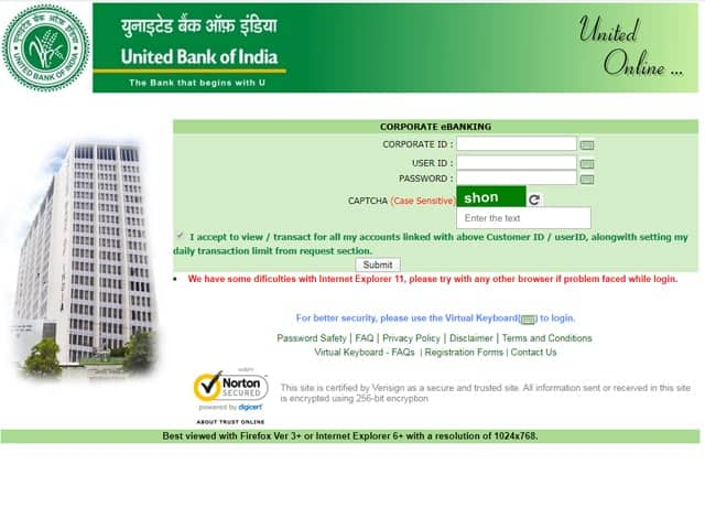 United Bank of India Online Banking